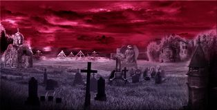 Mörk kyrkogård, digipak, konst, tempel fotografering för bildbyråer