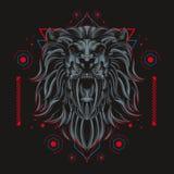 Mörk lejonkonungillustration stock illustrationer