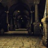 Mörk medeltida korridor stock illustrationer