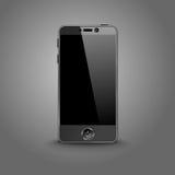 Mörk modern smart telefon med den isolerade svarta skärmen Arkivbild