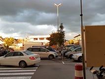 Mörk moln och sol royaltyfria foton
