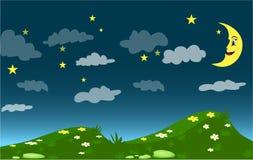 Mörk natt, tecknad filmmåne och stjärnor himmel, kullar med gräs och blommor royaltyfri bild