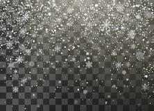 Mörk nignt semestrar snöfall som isoleras på genomskinlig bakgrund fallande snowflakes Dekorativ beståndsdel för jul och för nytt stock illustrationer