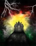 Mörk ond medeltida slottillustration Arkivfoto