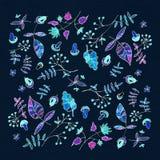 mörk paper vattenfärgyellow för forntida bakgrund Blommabild Royaltyfri Fotografi
