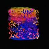 mörk paper vattenfärgyellow för forntida bakgrund Blommabild Blommor på en mäktig su Arkivbild