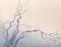 mörk paper vattenfärgyellow för forntida bakgrund Vinterfilialer av det gamla trädet