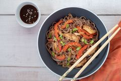 Mörk pasta med ångade grönsaker och grillad höna Läckra bovetenudlar med grönsaker och höna royaltyfria bilder