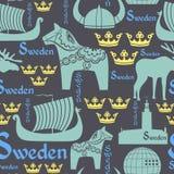 Mörk seamless modell med symboler av Sverige Arkivfoto