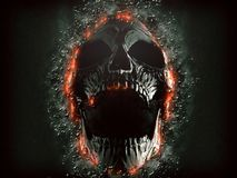 Mörk skrikig skalle som dyker upp från vaggaväggen vektor illustrationer