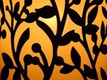 Mörk stencilväxt för guld- bakgrund Royaltyfri Bild
