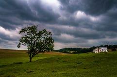 Mörk stormig himmel över träd och ett hus i York County Royaltyfri Foto
