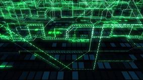 Mörk techabstrakt begreppbakgrund - att flyga över glöda går runt, trådar, linjer, anslutningar och den digitala binära samlingen arkivfilmer