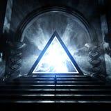 Mörk tempel med den glödande triangeln vektor illustrationer