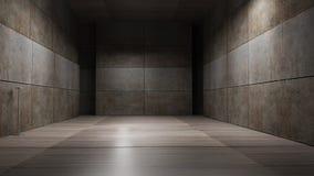 Mörk tolkning för metallrumbakgrund 3d Arkivbilder