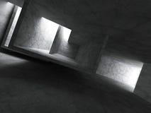 Mörk tom geometrisk arkitektur Konkret ruminre vektor illustrationer