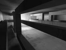 mörk tom lokal Konkreta rostiga väggar Arkitekturgrungebackg Royaltyfria Bilder