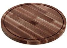Mörk trärund skärbräda, handgjord wood skärbräda Fotografering för Bildbyråer