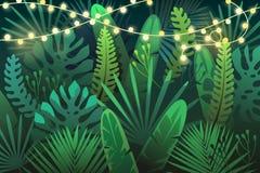 Mörk tropisk bakgrund med girlanden stock illustrationer