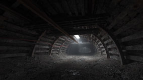 Mörk tunnel för kolgruva Royaltyfri Foto