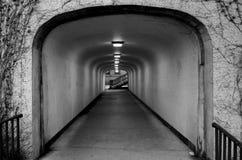Mörk tunnel som leder till en trappuppgång Royaltyfri Foto