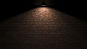 Mörk vägg med lampan ovanför tolkningen 3d Royaltyfri Fotografi