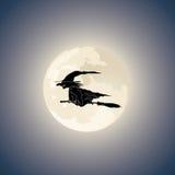 mörk vektorhäxa för broomstick Arkivbilder