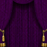 Mörk violett gardin med guld- tofsar Royaltyfri Fotografi