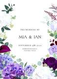 Mörk violett och purpurfärgad vit och lila hyrangea för ros, iris, bil royaltyfri illustrationer