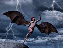 Mörka Angel Flies i natten Royaltyfri Foto
