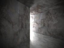 Mörka betongväggar tömmer rum med utgångsljus Grungearkitekt Royaltyfri Bild