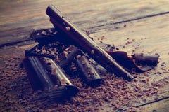 Mörka chokladshavings Fotografering för Bildbyråer