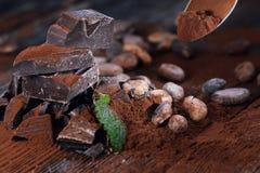 Mörka chokladstycken, kakaopulver och kakaobönor Arkivbilder