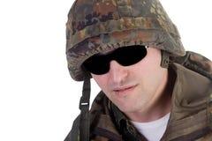 mörka exponeringsglas tjäna som soldat slitage arkivfoton