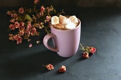 MÖRKA FOTOdrinkar och marshmallower Royaltyfri Fotografi