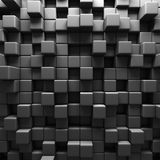 Mörka Grey Cube Blocks Wall Background Arkivbilder