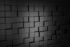Mörka Grey Cube Blocks Wall Background 3d framför Royaltyfria Foton