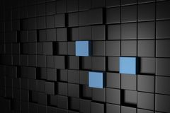 Mörka Grey Cube Blocks Wall Background 3d framför Royaltyfri Fotografi