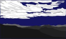 Mörka konturer av kullar med öknen och vita moln på mörker - blå ackground också vektor för coreldrawillustration royaltyfria foton