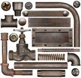 Mörka och rostiga beståndsdelar för industriell design Fotografering för Bildbyråer