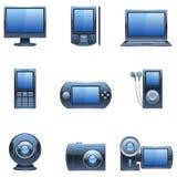 mörka symbolsmedel nio för blå dator Fotografering för Bildbyråer
