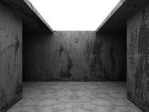 Mörka tomma betongväggar hyr rum inre med takljus _ Royaltyfri Fotografi