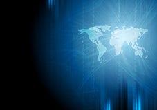 Mörker - blå bakgrund för binärt system för tech Arkivfoto