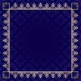 Mörker - blå bakgrund med den dekorativa ramen Arkivfoton