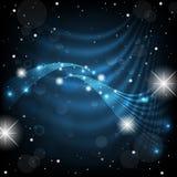 Mörker - blå bakgrund med glänsande stjärnor, snö och ljus christ royaltyfri fotografi