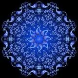 Mörker - blå blom- cirkelmodell stock illustrationer