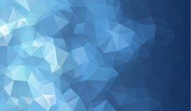 Mörker - blå glänsande triangulär bakgrund Den idérika geometriska illustrationen i origami utformar med lutning royaltyfri illustrationer