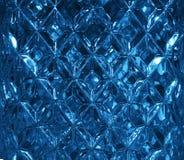 Mörker - blå glass textur med en modell av romber Klar glass diamantform kristaller Arkivfoton