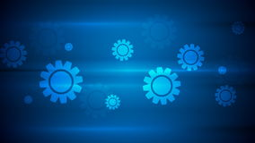 Mörker - blå högteknologisk video animering med kugghjul vektor illustrationer