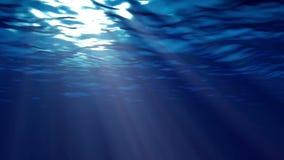 Mörker - blå havyttersida som ses från undervattens- stock illustrationer